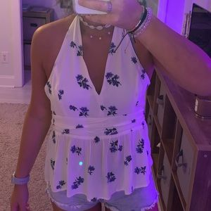 white adjustable tie halter top with flowers